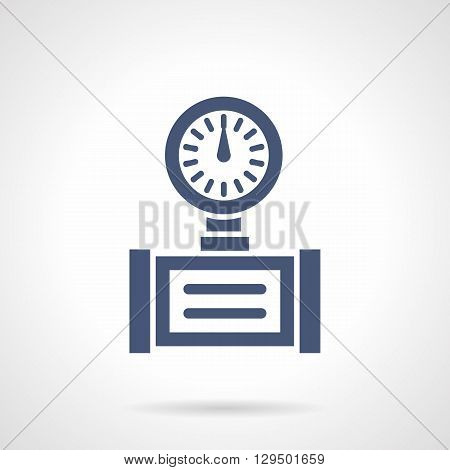 Device with dial gauge. Measurement and control of pressure and temperature in pipelines. Industrial technology. Symbolic blue glyph style vector icon. Element for web design and mobile.