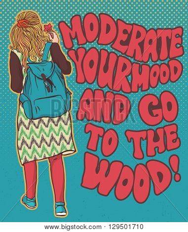 Hippie girl in the woods, bohemian girl, boho style. Illustration for print, clothing design, and web sites. Hippy or hippie philosophy and subculture movement heyday came in the late 1960s -1970s