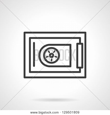 Safe box with round coded lock. Security equipment for deposited money in banks, protection of investments. Simple black line vector icon. Single element for web design, mobile app.