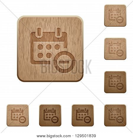 Set of carved wooden Remove from calendar buttons in 8 variations.