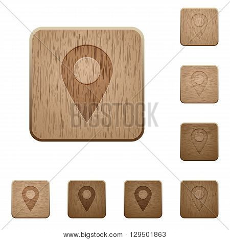 Set of carved wooden Location pin buttons in 8 variations.