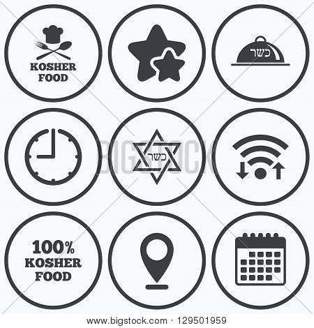 Clock, wifi and stars icons. Kosher food product icons. Chef hat with fork and spoon sign. Star of David. Natural food symbols. Calendar symbol.