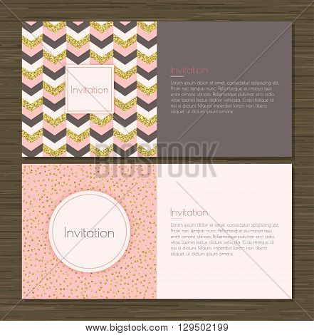 Invitation card with gold glitter chevron background back and front. Invitation card with gold glittering confetti on pink background. Vector illustration