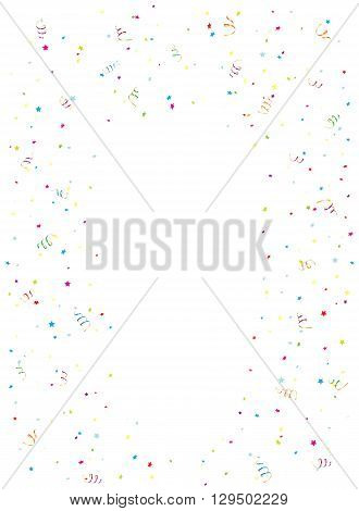 Happy Birthday background with multicolored tinsel and confetti, illustration.