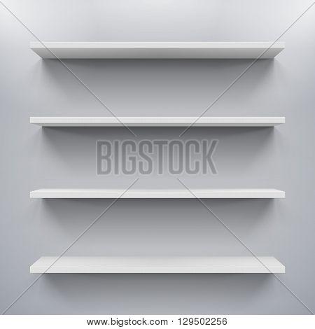 Gorizontal white bookshelves on the gray wall
