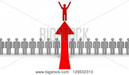 The choice of the applicant for the vacant position. The red arrow highlights the symbolic of the red man from the rows of grey. The concept of the choice of the applicant for the vacant position. Isolated. 3D Illustration