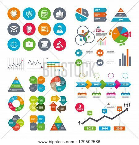 Wifi, calendar and web icons. Lawyer, scales of justice icons. Clients, auction hammer and law judge symbols. Newspaper, award and agreement document signs. Diagram charts design.