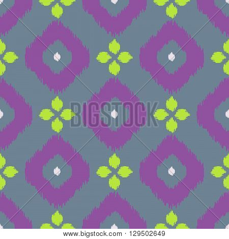 Ikat geometric seamless pattern. Green and purple color collection. Indonesian textile fabric tie-dye technique inspiration. Rhombus and drop shapes.