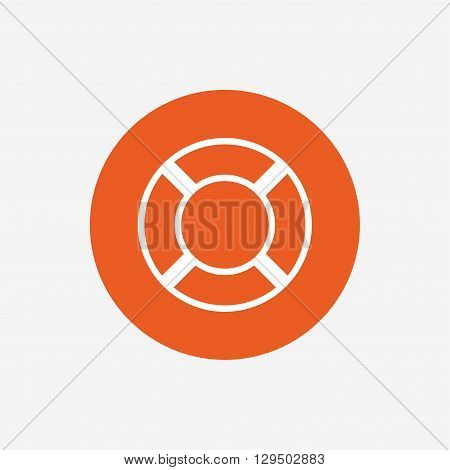 Lifebuoy sign icon. Life salvation symbol. Orange circle button with icon. Vector