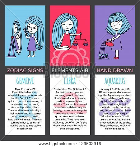 Zodiac signs and their characteristics. The set of three cards. Elements air. Gemini, Libra, Aquarius. Girls hand-painted on brightly colored backgrounds. Mark and description on a white background.