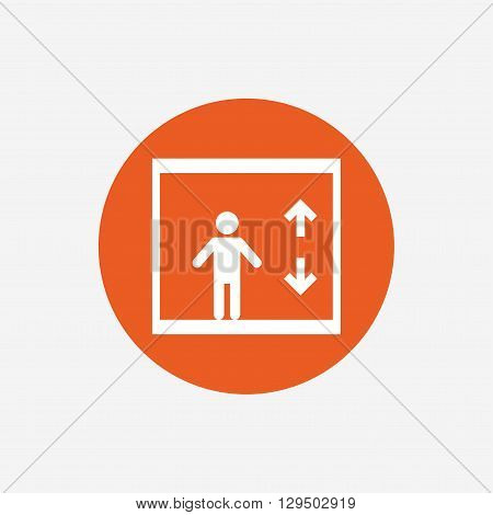 Elevator sign icon. Person symbol with up and down arrows. Orange circle button with icon. Vector