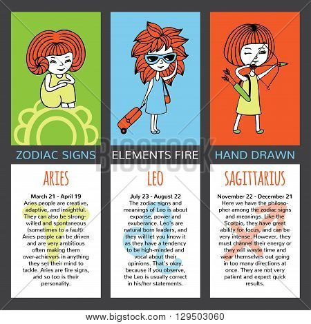 Zodiac signs and their characteristics. The set of three cards. Elements fire. Aries, Leo, Sagittarius. Girls hand-painted on brightly colored backgrounds. Mark and description on a white background.
