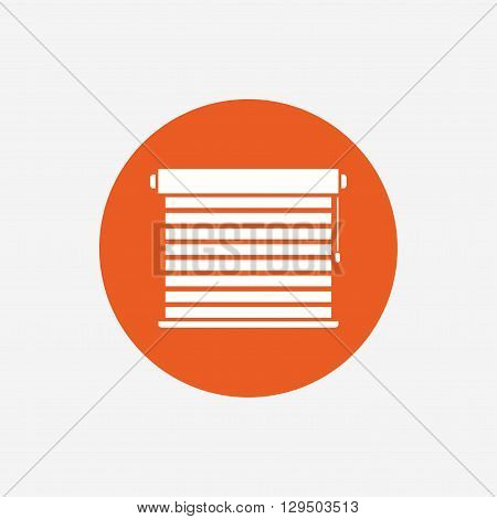 Louvers sign icon. Window blinds or jalousie symbol. Orange circle button with icon. Vector