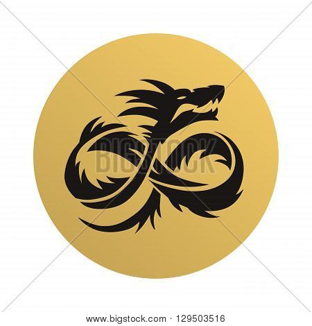 Dragon tattoo design, vintage engraved vector illustration. Dragon tattoo symbol chinese design and dragon tattoo art culture. Dragon tattoo black ancient decoration. Traditional asian fantasy icon.