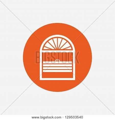 Louvers plisse sign icon. Window blinds or jalousie symbol. Orange circle button with icon. Vector