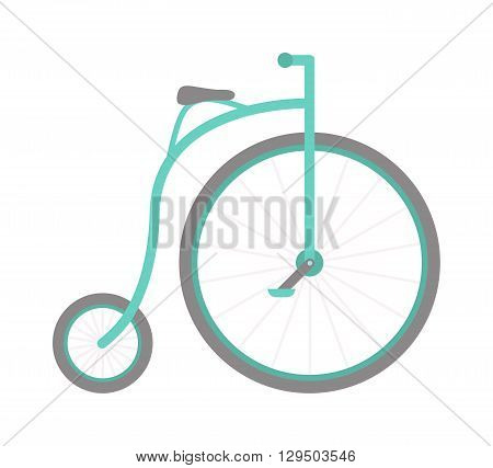Retro style circus bicycle with big front wheel vector illustration. Circus bike wheel cycle retro design and circus bike pedal transport isolated. Circus bike art concept travel antique symbol.