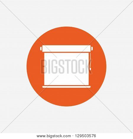Louvers rolls sign icon. Window blinds or jalousie symbol. Orange circle button with icon. Vector