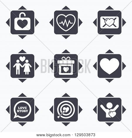 Icons with direction arrows. Love, valentine day icons. Target with heart, oath letter and locker symbols. Couple lovers, heartbeat signs. Square buttons.