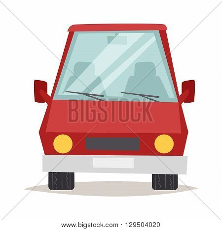 Cartoon red car design and red car shiny technology style vector. Generic red car luxury design flat vector illustration isolated on white. Red car flat style, red car isolated front view