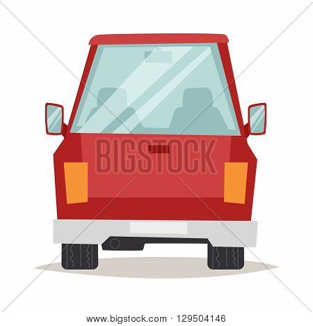Cartoon red car design back view and red car shiny technology style vector. Generic red car back view design flat vector illustration isolated on white. Red car flat style, red car isolated back view