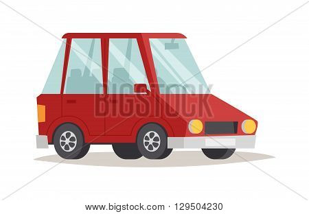 Cartoon red car design and red car cartoon vector. Generic red car flat design vector illustration isolated on white. Red car flat style, red car isolated front view