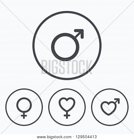 Male and female sex icons. Man and Woman signs with hearts symbols. Icons in circles.
