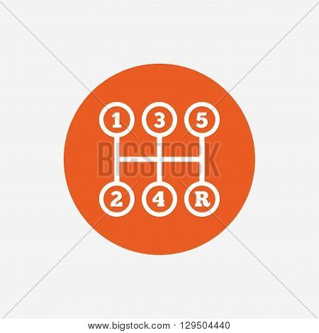 Manual transmission sign icon. Automobile mechanic control symbol. Orange circle button with icon. Vector