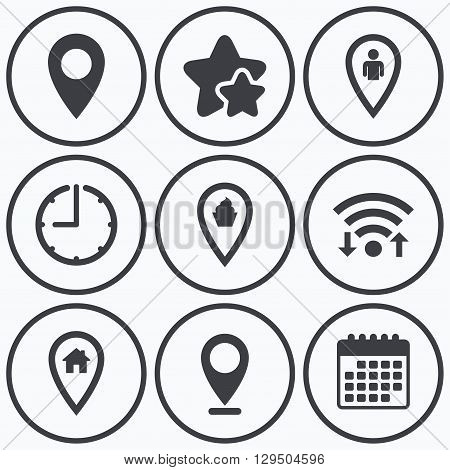 Clock, wifi and stars icons. Map pointer icons. Home, food and user location symbols. Restaurant and cupcake signs. You are here. Calendar symbol.