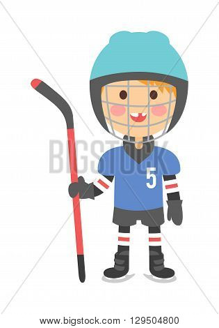 Cute cartoon hockey player boy isolated vector illustration children playing hockey. Boy hockey player game sport and cartoon character boy hockey player. Boy hockey player ice game sport athlete.
