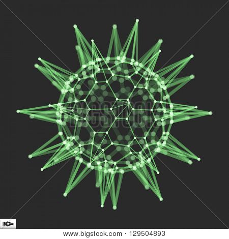 Sphere with Connected Lines and Dots. Glowing Grid. Connection Structure. Wireframe Vector Illustration.