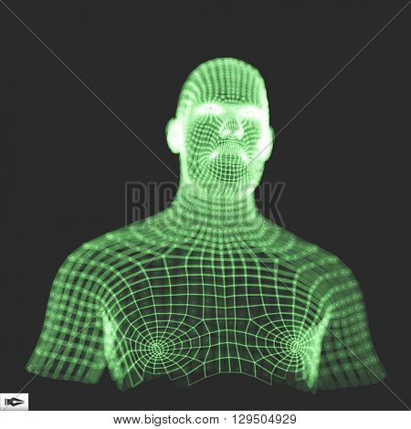 Head of the Person from a 3d Grid. Human Head Wire Model. Human Polygon Head. Face Scanning. Geometry Man Portrait.