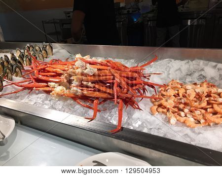 Seafood buffet on a bed of ice.