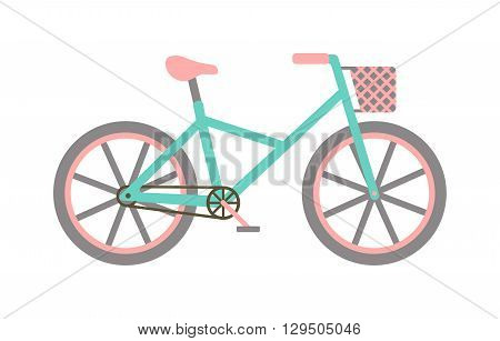 Vintage bicycle with basket and box turquoise or blue bike vector illustration. Bicycle with basket vintage retro transport and cute bicycle with basket. Girl bicycle with basket classic style summer.