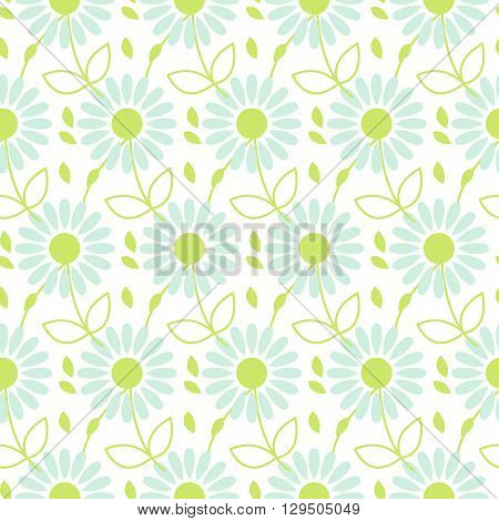 Daisy chamomile vector seamless pattern. Blue camomile floral and leaves background for wrapping, textile or linen.