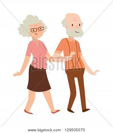 Cheerful senior couple enjoying peaceful nature retired couple. Retired couple vector illustration. Retired old couple and happy cartoon retired couple. Retired senior retirement people smiling.