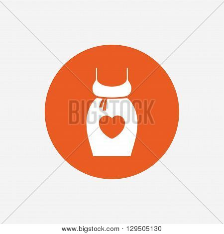 Pregnant woman dress sign icon. Maternity with heart clothing symbol Orange circle button with icon. Vector