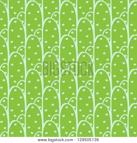 Green cactuses vector seamless pattern on white background. Densely arranged cacti pattern.