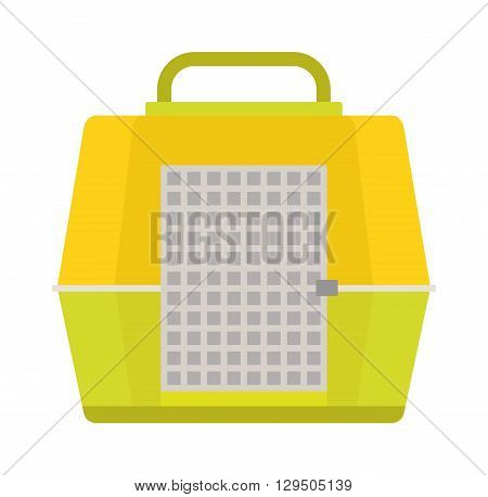 Pet carry case isolated on white. Carrying for pets vector illustration and travel carrying for pets. Box carrying for pets and carry travel puppy box transport trip container. Pet case equipment.