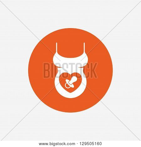Pregnant woman shirt sign icon. Baby on board with dummy. Maternity symbol Orange circle button with icon. Vector