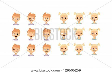 Girl emotions vector set collection. Kids emoji cartoon cute funny face and kids emoji face happy character. Kids emoji face design collection child avatar emoticon. Smile expression laugh symbol.