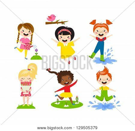 Many different summer kids, boys and girls running in the park on sunny summer day in casual clothes. Summer kids vector and playing happy summer kids. Summer kids fun joy childhood leisure.