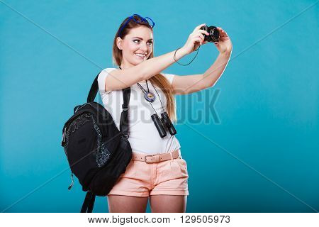 Woman Tourist Taking Photo With Camera