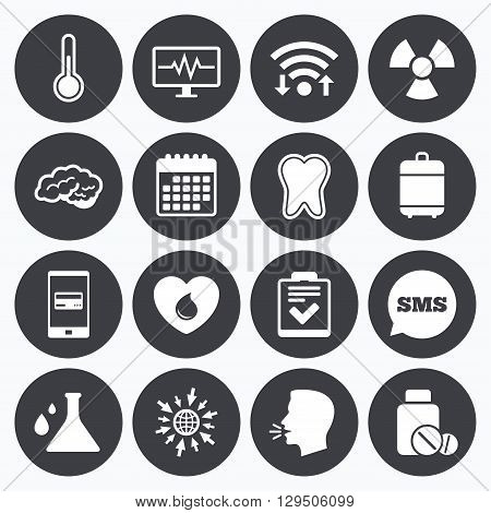 Wifi, calendar and mobile payments. Medicine, medical health and diagnosis icons. Blood donate, thermometer and pills signs. Tooth, neurology symbols. Sms speech bubble, go to web symbols.