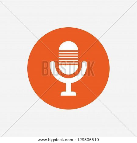 Microphone icon. Speaker symbol. Live music sign. Orange circle button with icon. Vector