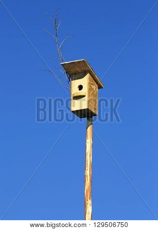 Birdhouse on a long pole against the blue sky