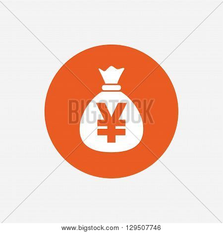 Money bag sign icon. Yen JPY currency symbol. Orange circle button with icon. Vector