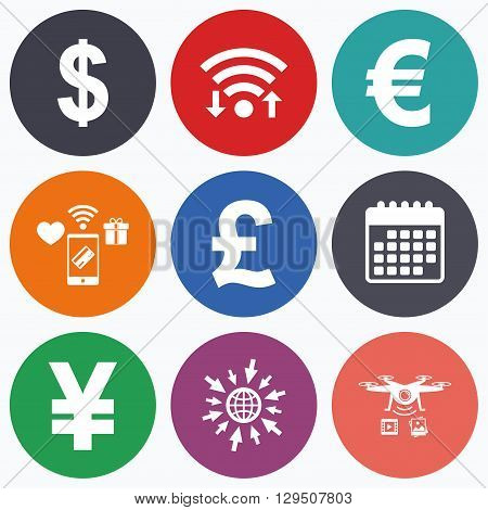 Wifi, mobile payments and drones icons. Dollar, Euro, Pound and Yen currency icons. USD, EUR, GBP and JPY money sign symbols. Calendar symbol.