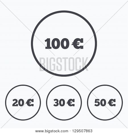 Money in Euro icons. 100, 20, 30 and 50 EUR symbols. Money signs Icons in circles.