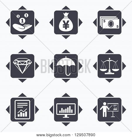 Icons with direction arrows. Money, cash and finance icons. Money savings, justice scales and report signs. Presentation, analysis and umbrella symbols. Square buttons.