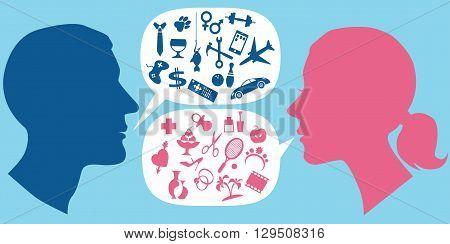 How men and women communicate, EPS8 vector illustration